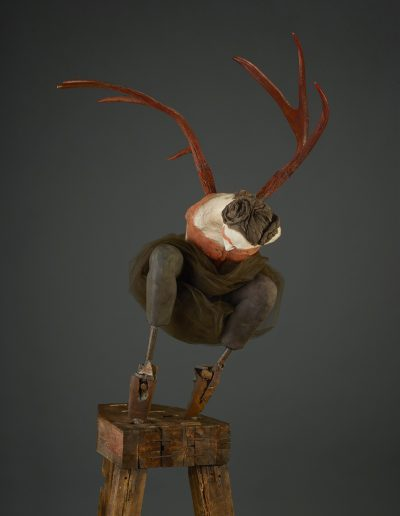 Red Crouch   84x30x41 - Susannah Zucker Contemporary Ceramic Clay Sculpture Art