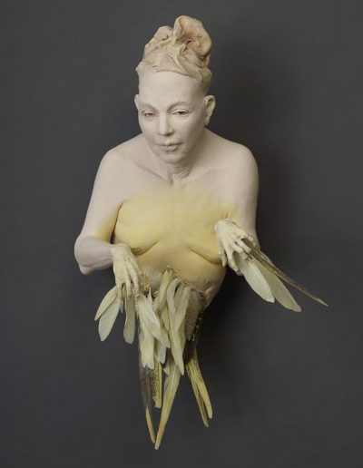 Yellow Bird Lady   20x11x9 - Susannah Zucker Contemporary Ceramic Clay Sculpture Art